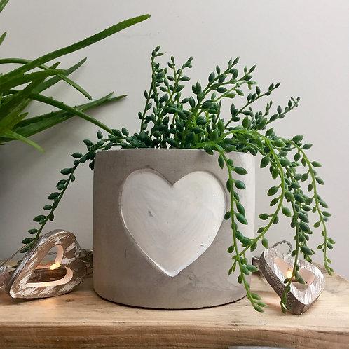 Concrete White Heart Planter