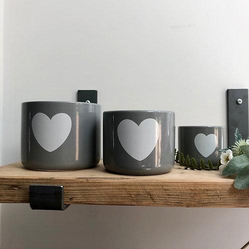 Set of 3 Grey Heart Pots