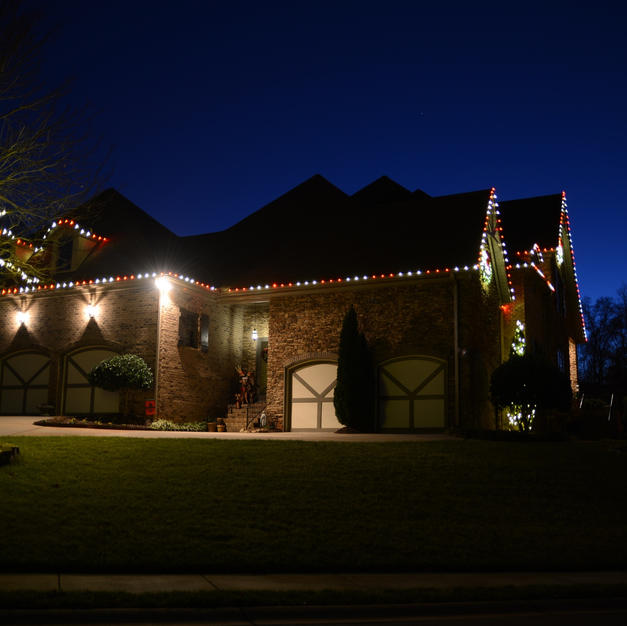 Red & White Stripe Lighting with Trunk Wrapped Tree