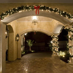 LED pre-lit Garland Wrapped Columns and Outlined Arches