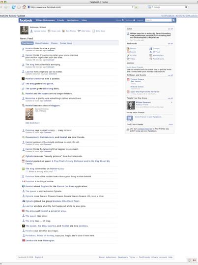 Hamlet: The Facebook News Feed Edition (2008, Sarah Schmelling)