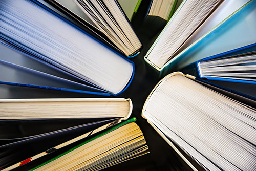 overhead view of books