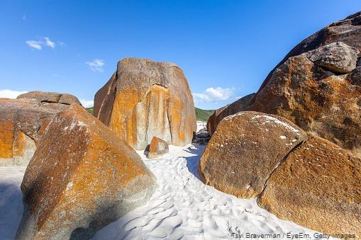large rocks block a path