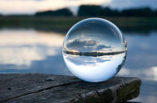 a cloud seen through a glass ball