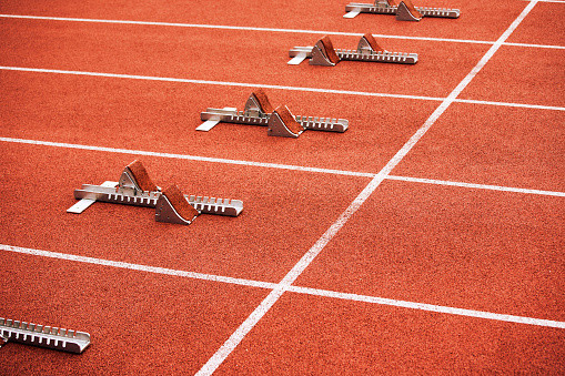 starting blocks on an athletic track