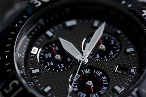 close-up of a watch face