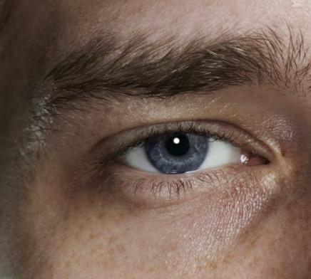 close-up of a white man's eye