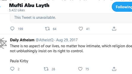'Mufti' Abu Layth Likes 19 Tweets Against Islam and Follows the Satanic Temple on Twitter