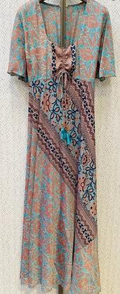 vestido estampado seda turquesa