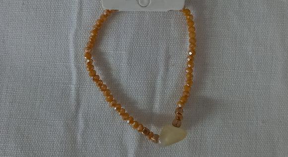 Pulsera cristales facetados y piedra amarilla