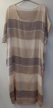 Vestido lino rayas tostado