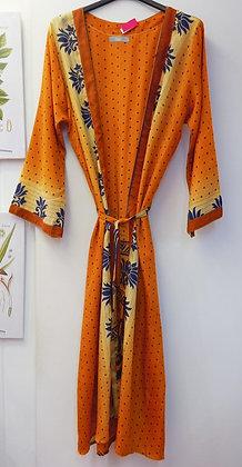 kimono largo mostaza y azul 10801