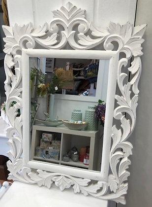 Espejo madera blanco rectangular