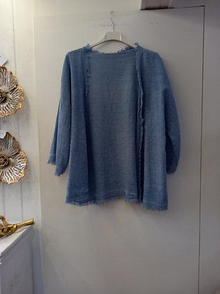 Chaqueta lino azul