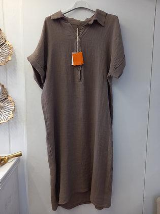 Vestido lino camisero fango