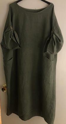 Vestido lino verde G98679