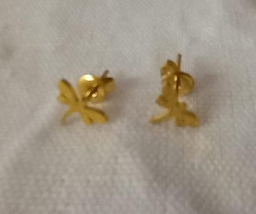 Pendientes acero baño oro libélulas