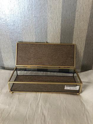 Joyero cristal y metal dorado 11682