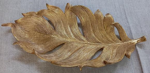 Centro resina dorado hoja