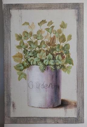 cuadro madera jarrón verde 1