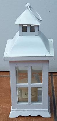 Farol madera metal blanco pequeño