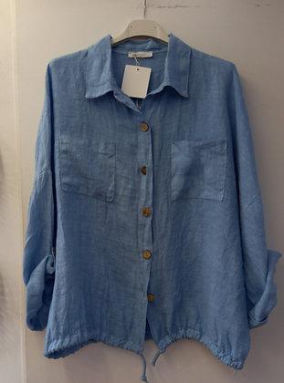 Camisa lino azul