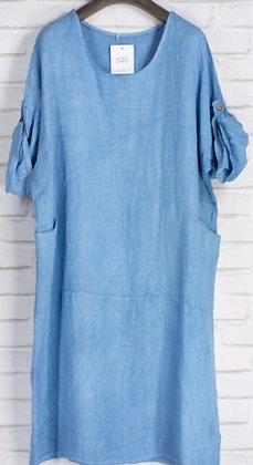 Vestido lino azul G98679