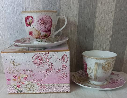 Taza te porcelana set 2