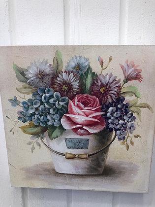 cuadro madera flores colores 1
