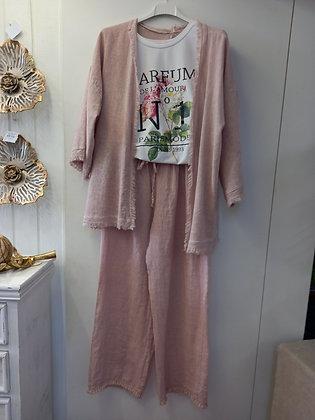 Pantalón lino rosa