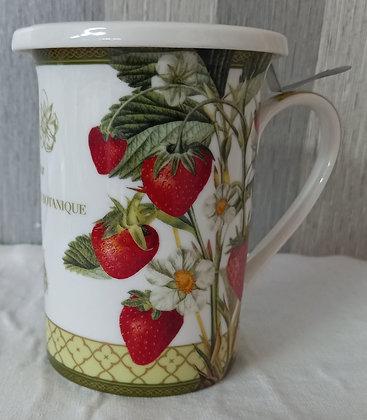 Taza infusión porcelana fresas