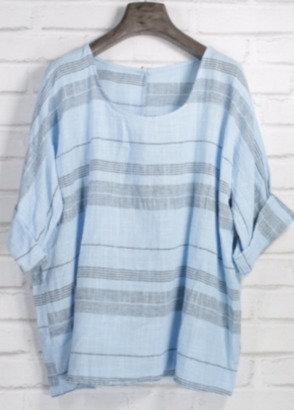 Camisola lino rayas azul
