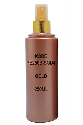 Sample HDPE 250ml Brown- Sprayer Metal Cover Gold