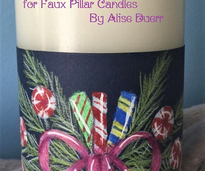 Holiday Candy Candle Wrap for Faux Pillar Candles