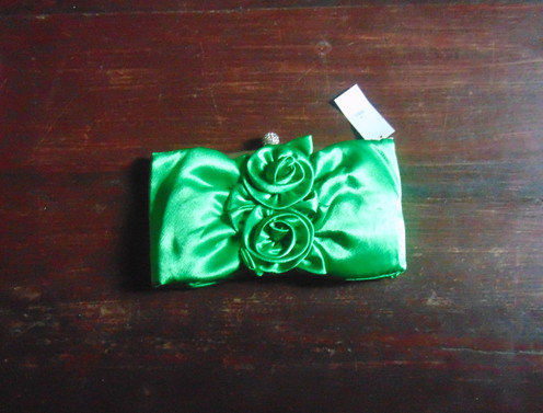 ffa3bea2f5e38 Green satin clutch bag