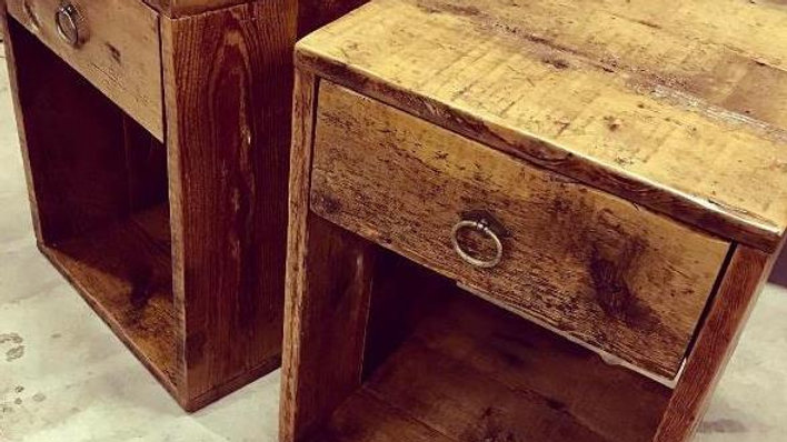 Reclaimed barn wood side tables single drawers