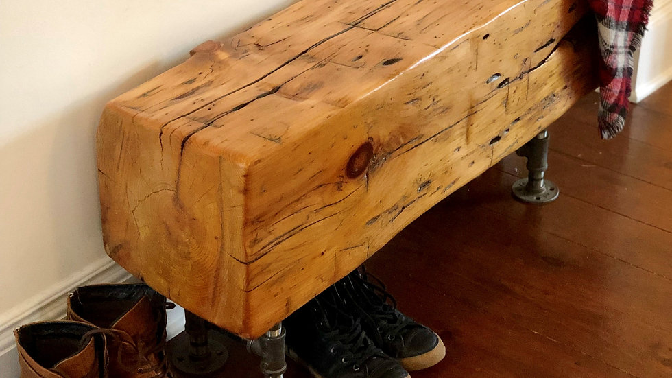 """48"""" Rustic Barn Beam Bench with industrial steel legs"""