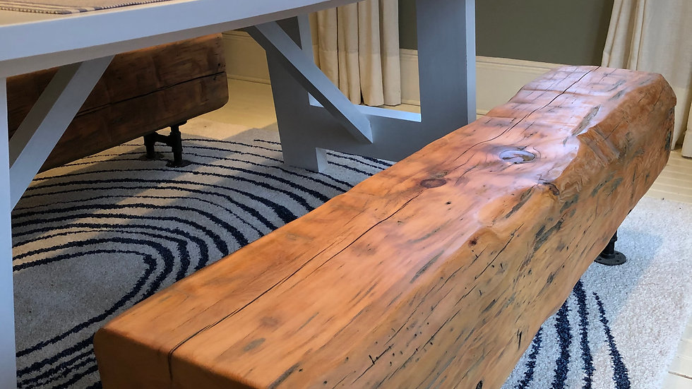 "60"" Rustic Barn Beam Bench with industrial steel legs"