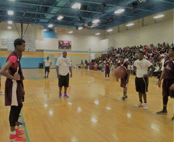 Z-105.3FM Radio Personality Trae at the line during BOSS Celebrity Charity Basketball Game