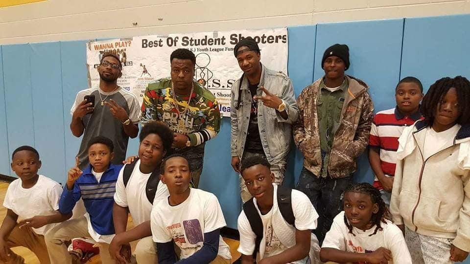 Music Award Winning Artist Supa Nard Producers and others with BOSS at Celebrity Basketball Game