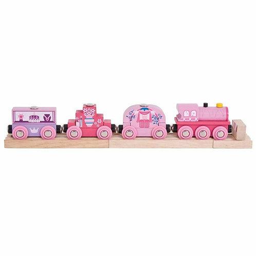 SALE Rail Wooden Princess Train Locomotive Engine Carriages Compatible Pink