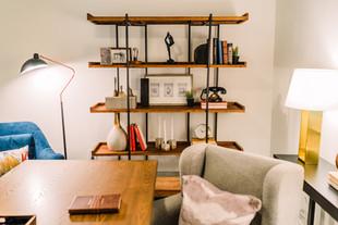 Office industrial wood shelf styling