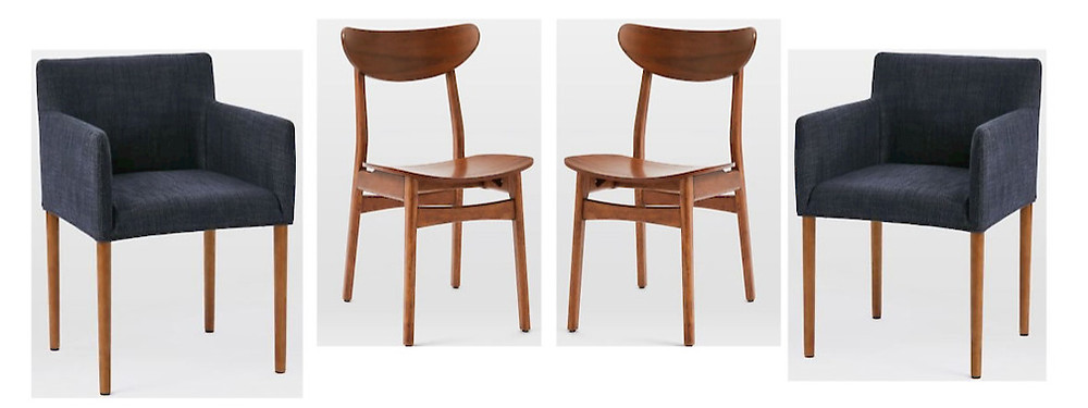 modern wooden chairs and low back navy blue chairs