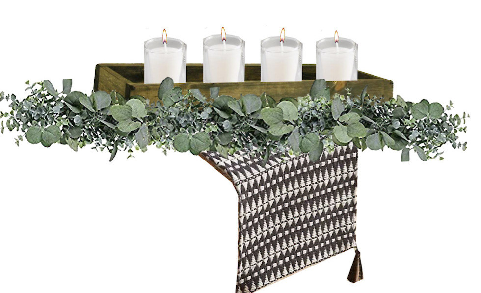 eucalyptus garland wood trough candles table runner