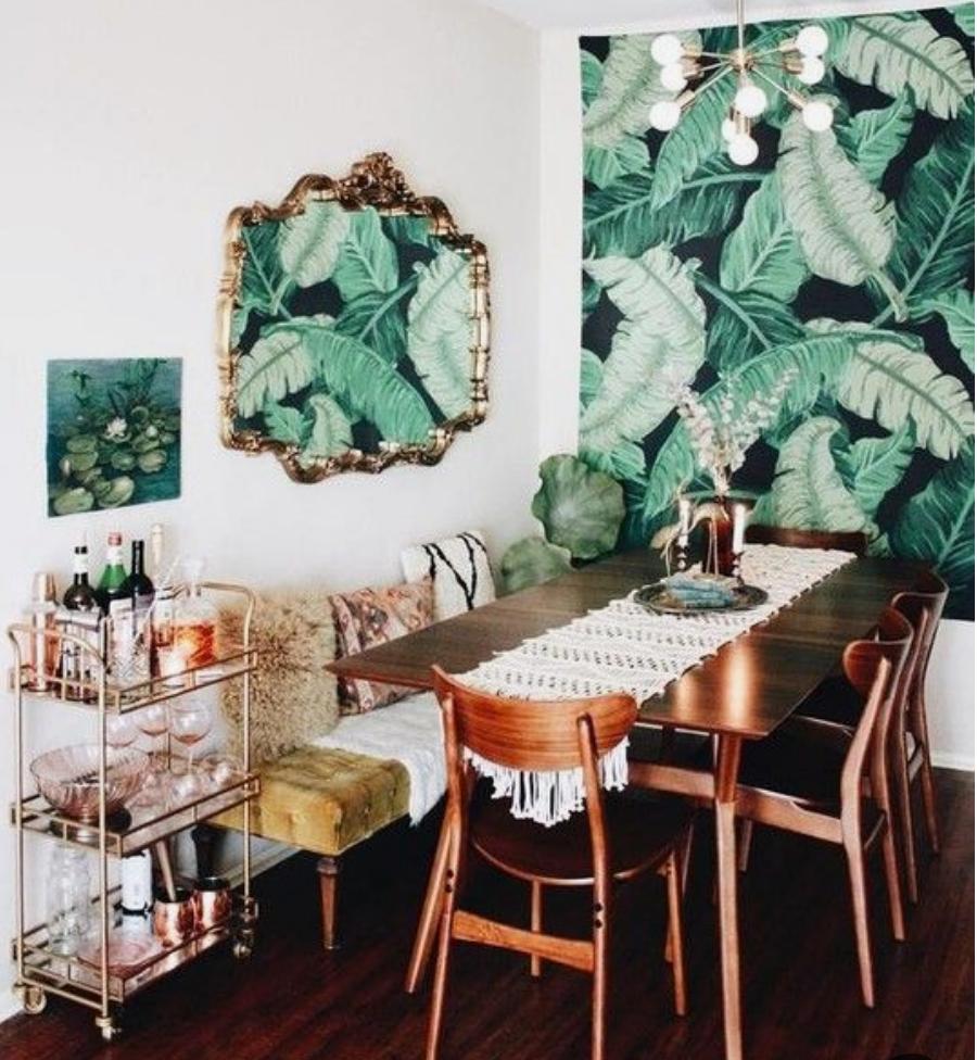 banana leaf wallpaper dining room