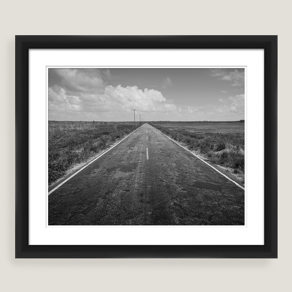 black and white road photo