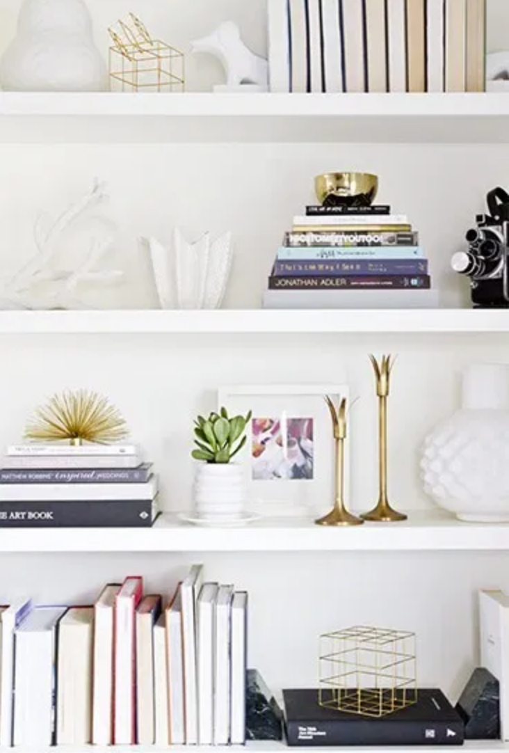 books and accessories on shelving