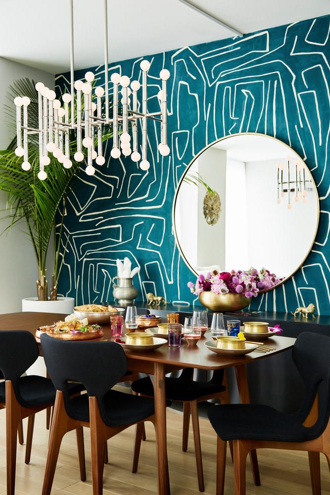 turquoise patteren wallpaper dining room