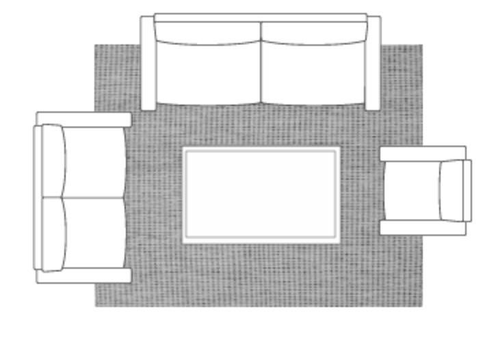 proper rug size living room