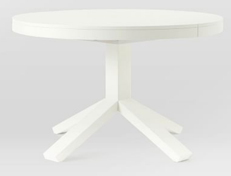 white West Elm pedestal table